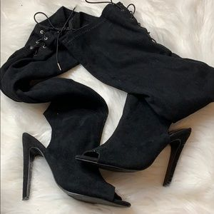 THIGH HIGH OPEN TOE SUEDE BOOTS
